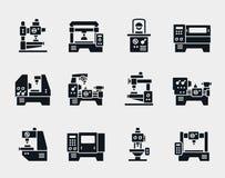 Iconos de la máquina-herramienta del vector fijados Imagen de archivo