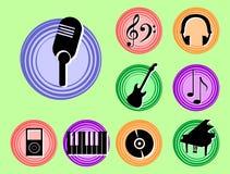Iconos de la música Imágenes de archivo libres de regalías