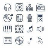 Iconos de la música con el vector blanco Imagen de archivo libre de regalías