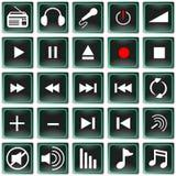 Iconos de la música del panel de control  Fotos de archivo