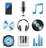 Iconos de la música fijados Imagen de archivo libre de regalías