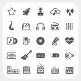 Iconos de la música fijados Imagenes de archivo