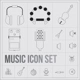 Iconos de la música fijados stock de ilustración