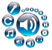 Iconos de la música fijados, azul. libre illustration