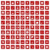 100 iconos de la música fijaron grunge rojo Foto de archivo libre de regalías