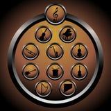 Iconos de la música - vector Fotografía de archivo libre de regalías