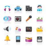 Iconos de la música y del sonido Foto de archivo