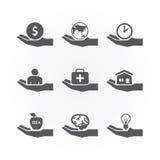 Iconos de la mano que ahorran vector del diseño de concepto Fotos de archivo