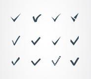 Iconos de la marca de verificación fijados Fotografía de archivo libre de regalías