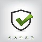 Iconos de la marca de verificación y del web del escudo Fotografía de archivo libre de regalías