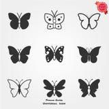 Iconos de la mariposa stock de ilustración