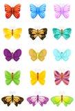 Iconos de la mariposa fijados ilustración del vector
