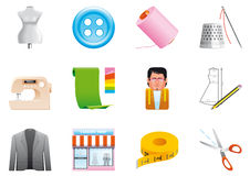 Iconos de la materia textil Foto de archivo