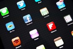 Iconos de la mayoría de los usos populares en el iPad de Apple Imágenes de archivo libres de regalías