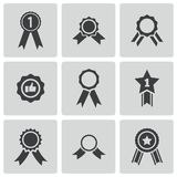 Iconos de la medalla del premio del negro del vector fijados Imagen de archivo