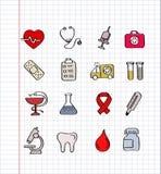 Iconos de la medicina Imagen de archivo libre de regalías