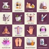 Iconos de la medicina alternativa fijados Imágenes de archivo libres de regalías