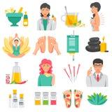 Iconos de la medicina alternativa fijados stock de ilustración