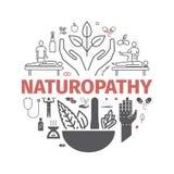 Iconos de la medicina alternativa fijados Muestra de Naturopathy Ilustración del vector stock de ilustración