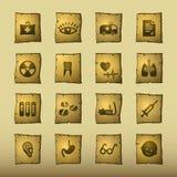 Iconos de la medicina del papiro stock de ilustración