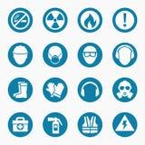 Iconos de la medicina del trabajo y muestras de seguridad libre illustration