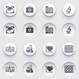 Iconos de la medicina en los botones blancos. Sistema 3. Fotografía de archivo libre de regalías
