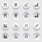 Iconos de la medicina en los botones blancos. Sistema 4. Fotos de archivo