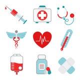 Iconos de la medicina fijados Fotografía de archivo libre de regalías