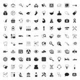 Iconos de la medicina 100 fijados para el web Fotos de archivo