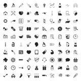 Iconos de la medicina 100 fijados para el web Imagenes de archivo