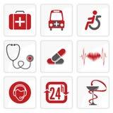 Iconos de la medicina y de Heath Care Foto de archivo