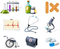 Iconos de la medicina y del cuidado médico Foto de archivo