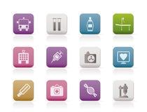 Iconos de la medicina y del cuidado médico Imagenes de archivo