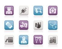 Iconos de la medicina y del cuidado médico Fotos de archivo libres de regalías