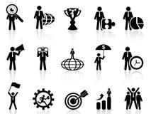 Iconos de la metáfora del negocio fijados stock de ilustración