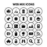 Iconos de la mezcla del web ilustración del vector