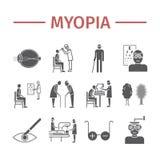 Iconos de la miopía fijados Vector el ejemplo para los sitios web, revistas, folletos Muestras de la medicina