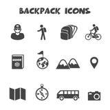 Iconos de la mochila stock de ilustración