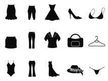 Iconos de la moda de la mujer negra fijados Fotos de archivo libres de regalías