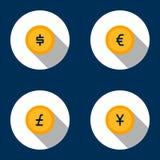 Iconos de la moneda Fotografía de archivo