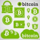 Iconos de la moneda de Bitcoin fijados Foto de archivo libre de regalías