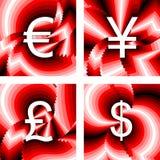 Iconos de la moneda del diseño fijados Euro, yen, libra, dólar Foto de archivo libre de regalías