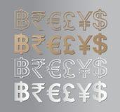 Iconos de la moneda fijados Fotografía de archivo libre de regalías