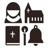 Iconos de la monja, de la iglesia, de la biblia, de la vela y de la campana libre illustration