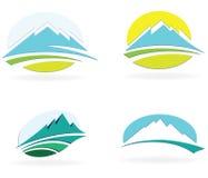 Iconos de la montaña stock de ilustración