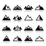 Iconos de la montaña fijados Imagen de archivo libre de regalías
