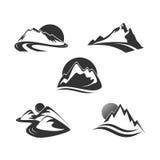 Iconos de la montaña fijados Fotos de archivo libres de regalías
