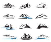 Iconos de la montaña fijados Foto de archivo libre de regalías