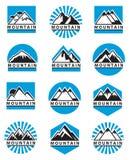 Iconos de la montaña fijados Imagenes de archivo