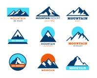 Iconos de la montaña - símbolos Fotografía de archivo